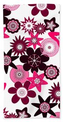 Pink Funky Flowers Beach Towel by Methune Hively