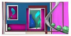 Beach Towel featuring the digital art Pink Geometric Scene With Emerald Balls by Alberto RuiZ