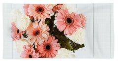 Pink Gerbera Daisy Flowers And White Roses Bouquet Beach Sheet by Radu Bercan
