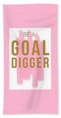 Pink Goal Digger Beach Towel by Elizabeth Taylor