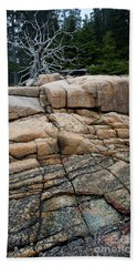 Pink Granite And Driftwood At Schoodic Peninsula In Maine  -4672 Beach Towel