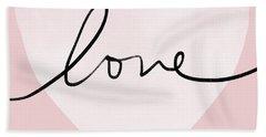Pink Heart Love- Art By Linda Woods Beach Towel