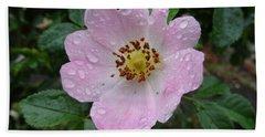 Pink Heart Petal Rose With Raindrops Beach Towel