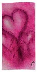 Pink Hearts Beach Towel