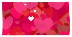 Pink Hearts Beach Sheet