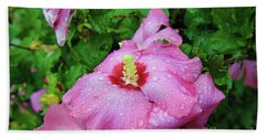 Pink Hibiscus After Rain Beach Sheet by Inspirational Photo Creations Audrey Woods