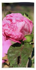 Pink Hibiscus Bud Beach Sheet by Inspirational Photo Creations Audrey Woods