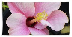 Pink Hibiscus Flower Beach Towel