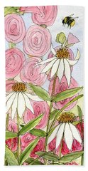 Pink Hollyhock And White Coneflowers Beach Towel