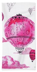 Pink Hot Air Baloons Beach Sheet