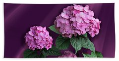 Pink Hydrangea Beach Sheet by Judy Johnson