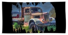 Classic Flatbed Truck In Pink Beach Towel