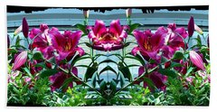 Pink Lilies Fusion Beach Sheet by Will Borden