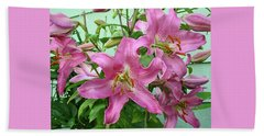 Pink Lilies Beach Towel by Jay Milo