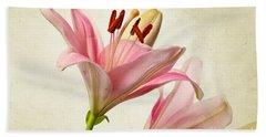 Pink Lilies Beach Towel