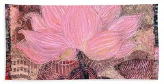 Pink Lotus Flower Beach Sheet