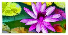 Pink Lotus Gallery  Beach Sheet by Lanjee Chee