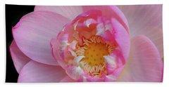 Pink Lotus Opening Beach Sheet