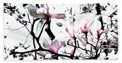 Pink Magnolia - In Black And White  Beach Sheet