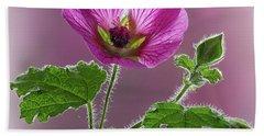 Pink Mallow Flower Beach Towel