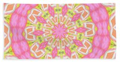 Pink Medallion Beach Towel by Shirley Moravec