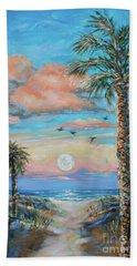 Pink Moon Rise Beach Towel by Linda Olsen