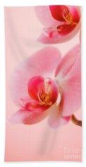 Pink Orchid Closeup Beach Towel