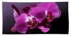 Pink Orchid Flowers Beach Towel