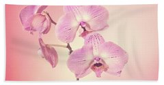 Pink Orchids 2 Beach Sheet by Linda Phelps