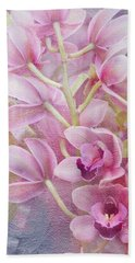Beach Towel featuring the photograph Pink Orchids by Ann Bridges