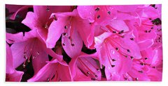 Beach Towel featuring the photograph Pink Passion In The Rain by Sherry Hallemeier
