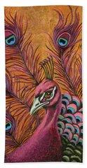 Pink Peacock Beach Towel by Leah Saulnier The Painting Maniac