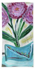 Pink Peonies-gray Table Beach Towel