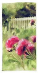 Beach Towel featuring the digital art Pink Peonies In A Vintage Garden by Lois Bryan