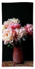 Pink Peonies In Pink Vase Beach Sheet