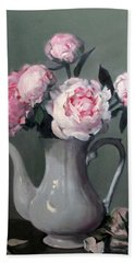 Pink Peonies In White Coffeepot Beach Sheet