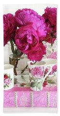Pink Peonies, Red Peonies, Peony Flowers, Peonies Peony Teacups Kitchen Art Home Decor Beach Towel