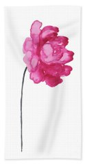 Pink Peony, Nursery Decor Wall Art Print, Abstract Illustration Beach Towel
