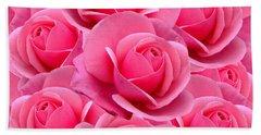 Pink Pink Roses Beach Sheet
