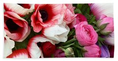 Pink Poppy Anemone Flowers At The Farmers Market Beach Towel