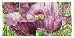 Beach Towel featuring the mixed media Pink Poppy Garden by Carol Cavalaris