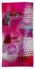 Pink Portrait Abstract Beach Towel