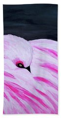 Beach Towel featuring the painting Pink Primping Flamingo by Sonya Nancy Capling-Bacle