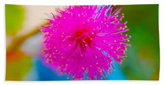 Pink Puff Flower Beach Sheet