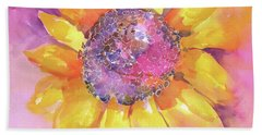 Pink Purple Yellow Sunflower  Beach Towel