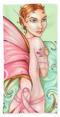 Pink Ribbon Fairy For Breast Cancer Awareness Beach Towel