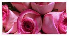 Pink Rose Bouquet Beach Sheet