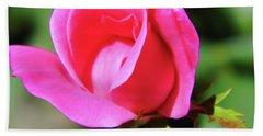 Pink Rose Bud Beach Towel