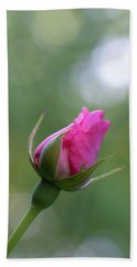 Pink Rose Bud Beach Towel