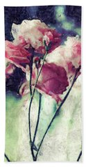Pink Rose Flowers Beach Towel by Phil Perkins
